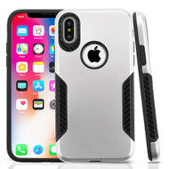 *SALE* Hybrid Armor Case with Carbon Fiber Accents for iPhone XS / X - Silver