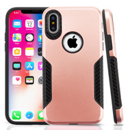 *SALE* Hybrid Armor Case with Carbon Fiber Accents for iPhone XS / X - Rose Gold