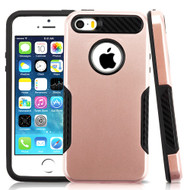Hybrid Armor Case with Carbon Fiber Accents for iPhone SE / 5S / 5 - Rose Gold