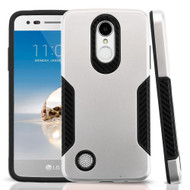 Hybrid Armor Case with Carbon Fiber Accents for LG Aristo / Fortune / K8 (2017) / Phoenix 3 - Silver