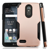 Hybrid Armor Case with Carbon Fiber Accents for LG Stylo 3 / Stylo 3 Plus - Rose Gold