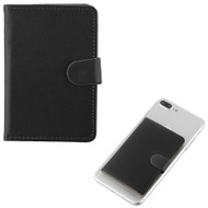 Adhesive Dual Card Slot Flip Wallet - Black