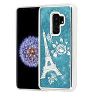 Electroplating Quicksand Glitter Transparent Case for Samsung Galaxy S9 Plus - Eiffel Tower Silver