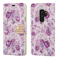 Luxury Bling Portfolio Leather Wallet Case for Samsung Galaxy S9 Plus - Fresh Purple Flowers