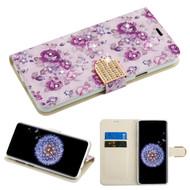 *SALE* Luxury Bling Portfolio Leather Wallet Case for Samsung Galaxy S9 Plus - Fresh Purple Flowers