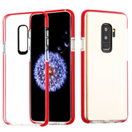 Crystal Clear Transparent TPU Case with Bumper Reinforcement for Samsung Galaxy S9 Plus - Red