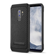 Tough Anti-Shock Hybrid Case with Kickstand for Samsung Galaxy S9 Plus - Carbon Fiber