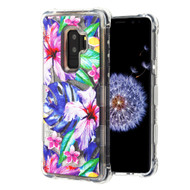 Tuff Lite Quicksand Glitter Transparent Case for Samsung Galaxy S9 Plus - Watercolor Hibiscus