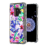 Tuff Lite Quicksand Glitter Transparent Case for Samsung Galaxy S9 - Watercolor Hibiscus