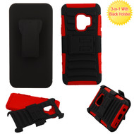 Advanced Armor Hybrid Kickstand Case with Holster for Samsung Galaxy S9 - Black Red