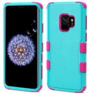 Military Grade Certified TUFF Hybrid Armor Case for Samsung Galaxy S9 - Teal Green Electric Pink