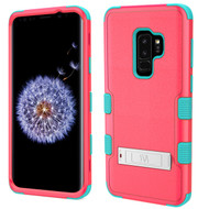 Military Grade Certified TUFF Hybrid Armor Case with Stand for Samsung Galaxy S9 Plus - Pink Teal