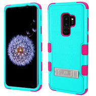 Military Grade Certified TUFF Hybrid Armor Case with Stand for Samsung Galaxy S9 Plus - Teal Green Electric Pink