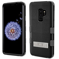 Military Grade Certified TUFF Hybrid Armor Case with Stand for Samsung Galaxy S9 Plus - Black Grey
