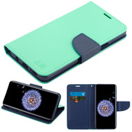 Diary Leather Wallet Case for Samsung Galaxy S9 Plus - Teal Green