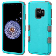 Military Grade Certified TUFF Hybrid Armor Case for Samsung Galaxy S9 - Teal Green Grey