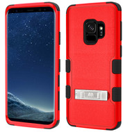 Military Grade Certified TUFF Hybrid Armor Case with Stand for Samsung Galaxy S9 - Red