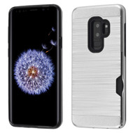 Dual-Layer Hybrid Case with Card Slot for Samsung Galaxy S9 Plus - Silver