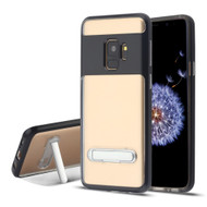 Bumper Shield Clear Transparent TPU Case with Magnetic Kickstand for Samsung Galaxy S9 - Black