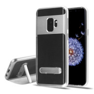 Bumper Shield Clear Transparent TPU Case with Magnetic Kickstand for Samsung Galaxy S9 - Silver