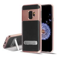 Bumper Shield Clear Transparent TPU Case with Magnetic Kickstand for Samsung Galaxy S9 - Rose Gold