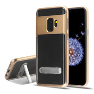 Bumper Shield Clear Transparent TPU Case with Magnetic Kickstand for Samsung Galaxy S9 - Gold