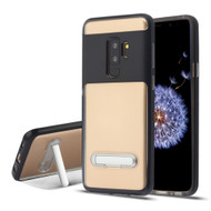 Bumper Shield Clear Transparent TPU Case with Magnetic Kickstand for Samsung Galaxy S9 Plus - Black