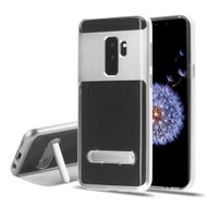 Bumper Shield Clear Transparent TPU Case with Magnetic Kickstand for Samsung Galaxy S9 Plus - Silver