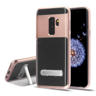 *Sale* Bumper Shield Clear Transparent TPU Case with Magnetic Kickstand for Samsung Galaxy S9 Plus - Rose Gold