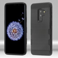 Military Grade Certified TUFF Trooper Dual Layer Hybrid Armor Case for Samsung Galaxy S9 Plus - Black