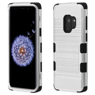 Military Grade Certified Brushed TUFF Hybrid Armor Case for Samsung Galaxy S9 - Silver