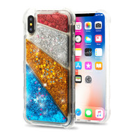 Tuff Lite Quicksand Glitter Transparent Case for iPhone XS / X - Diagonal Partition