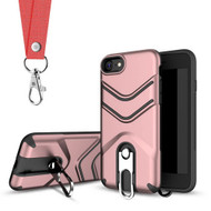 Victory Rugged Hybrid Armor Case with Metal Loop Kickstand and Lanyard for iPhone 8 / 7 - Rose Gold