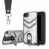 Victory Rugged Hybrid Armor Case with Metal Loop Kickstand and Lanyard for iPhone 8 / 7 - Silver