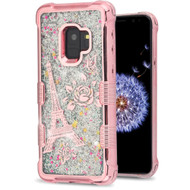 Tuff Lite Quicksand Glitter Electroplating Transparent Case for Samsung Galaxy S9 - Eiffel Tower Rose Gold