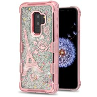Tuff Lite Quicksand Glitter Electroplating Transparent Case for Samsung Galaxy S9 Plus - Eiffel Tower Rose Gold
