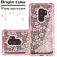 Tuff Lite Quicksand Glitter Electroplating Transparent Case for Samsung Galaxy S9 Plus - Hibiscus Rose Gold