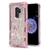 Tuff Lite Quicksand Glitter Electroplating Transparent Case for Samsung Galaxy S9 Plus - Spring Flowers Rose Gold