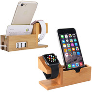 *Sale* Bamboo Wood 3 Port Desktop Charging Stand for Apple Watch and Smartphones