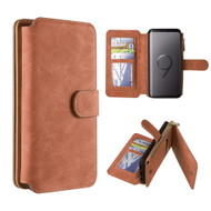 Luxury Coach Series Leather Wallet with Removable Magnet Case for Samsung Galaxy S9 Plus - Brown