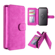 *SALE* Luxury Coach Series Leather Wallet with Removable Magnet Case for Samsung Galaxy S9 Plus - Hot Pink