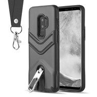 Victory Rugged Hybrid Armor Case with Metal Loop Kickstand and Lanyard for Samsung Galaxy S9 Plus - Black