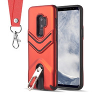Victory Rugged Hybrid Armor Case with Metal Loop Kickstand and Lanyard for Samsung Galaxy S9 Plus - Red