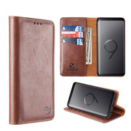 2-IN-1 Luxury Magnetic Leather Wallet Case for Samsung Galaxy S9 Plus - Brown