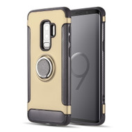 Carbon Edge Sports Hybrid Armor Case with Ring Holder for Samsung Galaxy S9 Plus - Gold