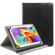 Universal Tablet Book-Style Leather Kickstand Case - Black