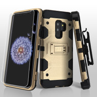 Military Grade Certified Storm Tank Hybrid Case with Holster and Screen Protector for Samsung Galaxy S9 Plus - Gold
