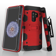 Military Grade Certified Storm Tank Hybrid Case with Holster and Screen Protector for Samsung Galaxy S9 Plus - Red