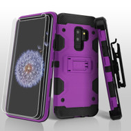Military Grade Certified Storm Tank Hybrid Case with Holster and Screen Protector for Samsung Galaxy S9 Plus - Purple