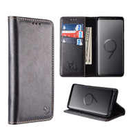 2-IN-1 Luxury Magnetic Leather Wallet Case for Samsung Galaxy S9 - Black
